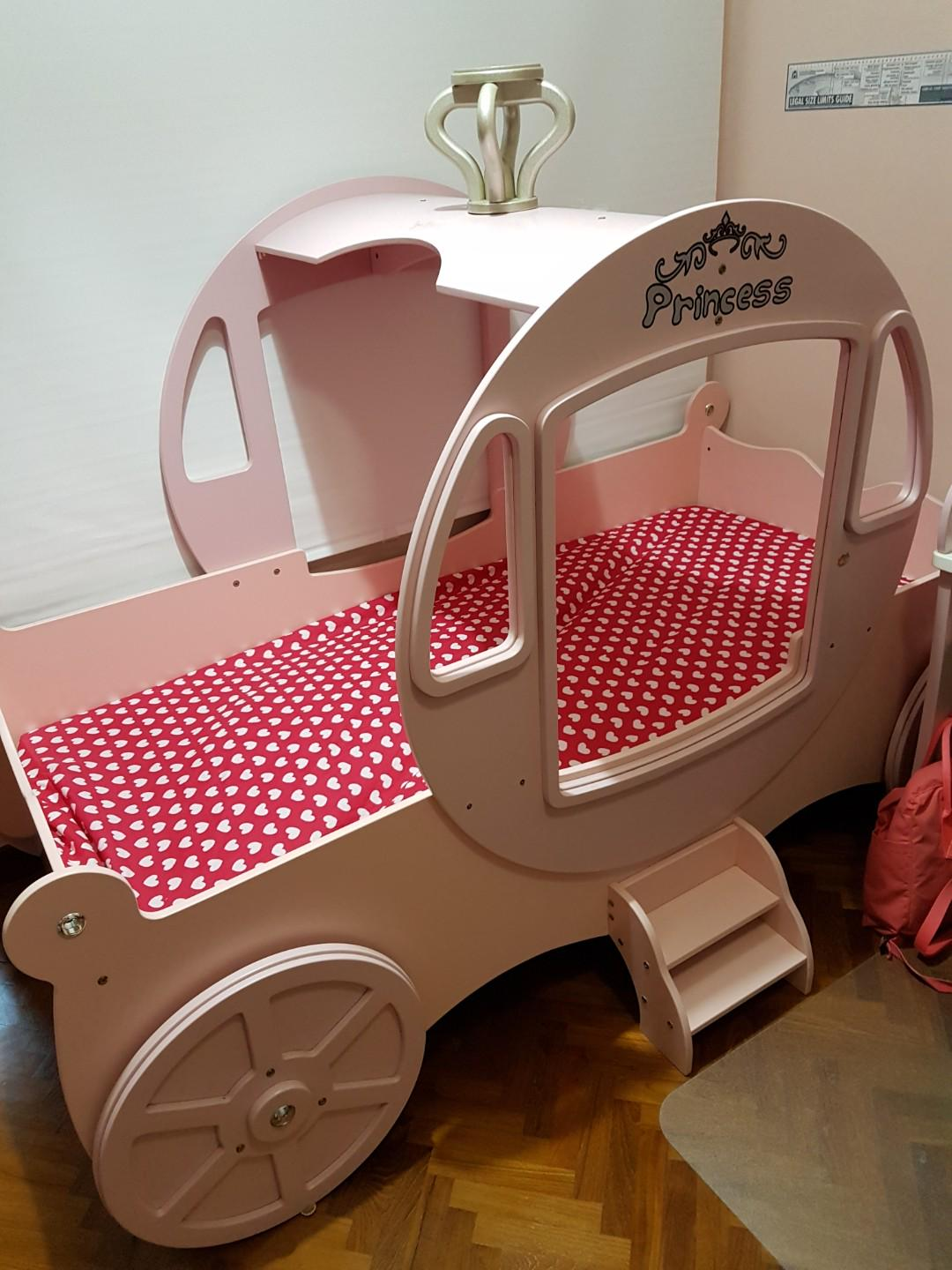 Girls Princess Horse Carriage Pink Bed Frame Furniture Beds Mattresses On Carousell