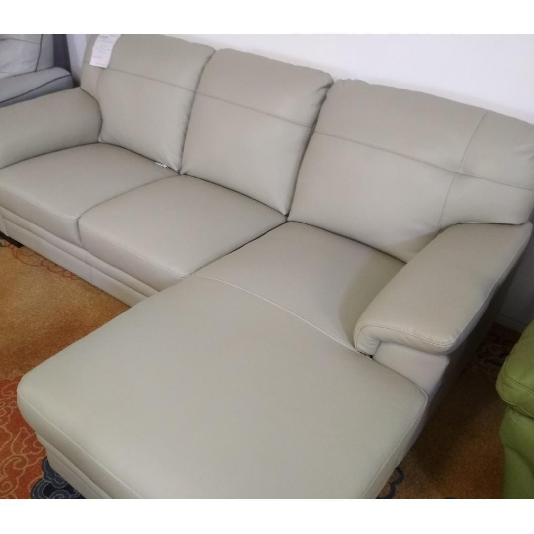 gemini half leather 2 seater w chaise sofa couch sflp830