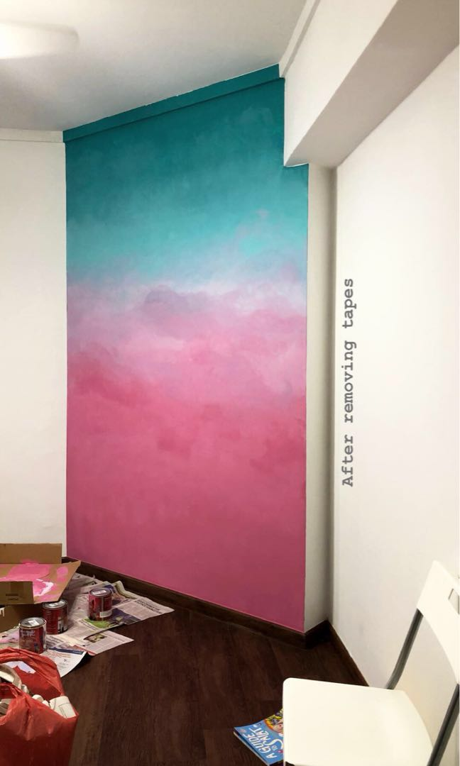 Ombre Wall Painting Design Amp Craft Art Amp Prints On Carousell