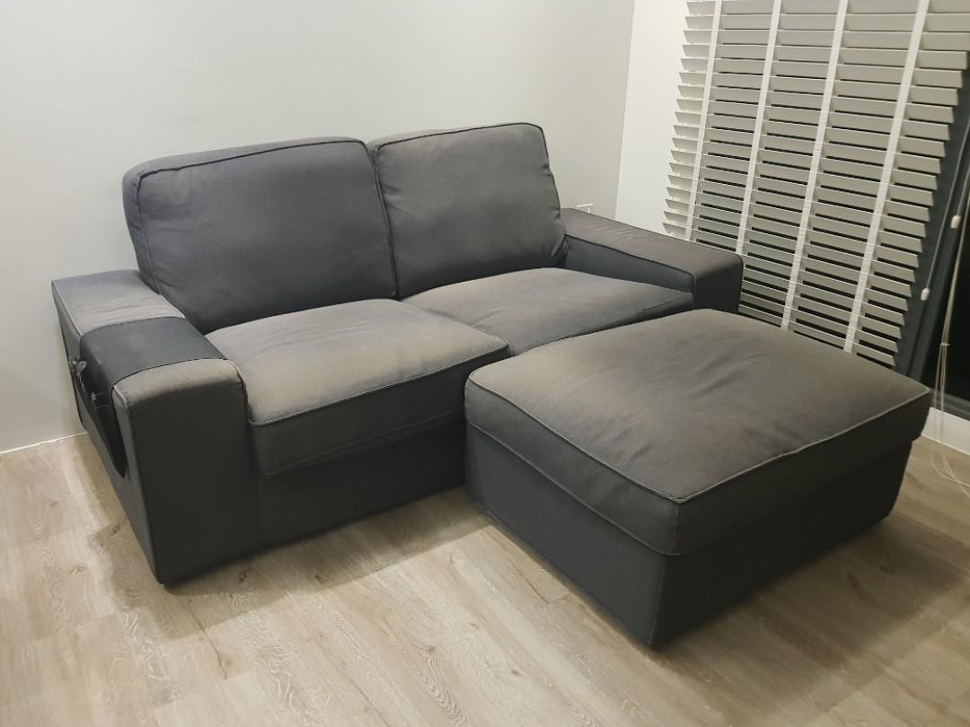 navy blue ikea sofa w leg rest gd cond