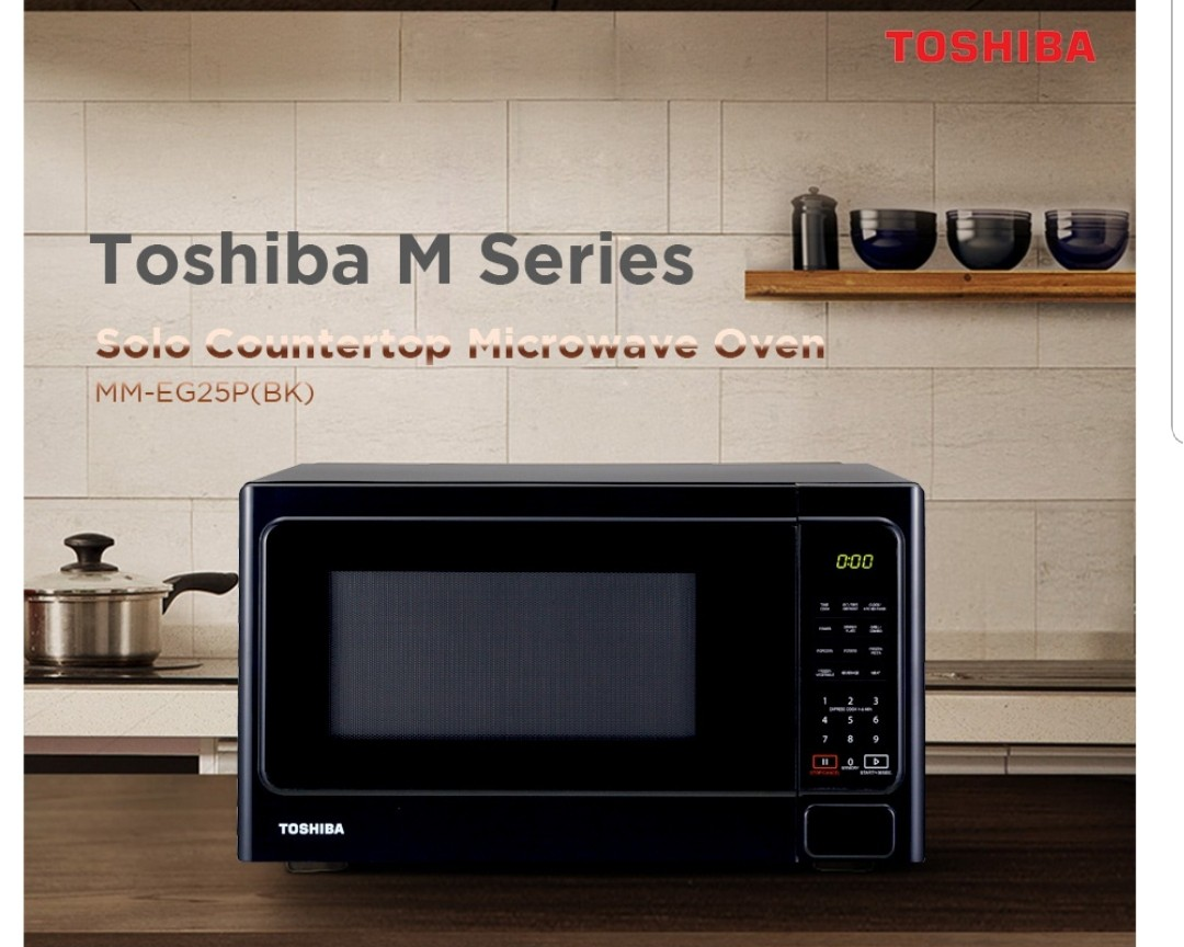 toshiba mmeg25pbk microwave oven with grill 25l with warranty springcleanandcarousell