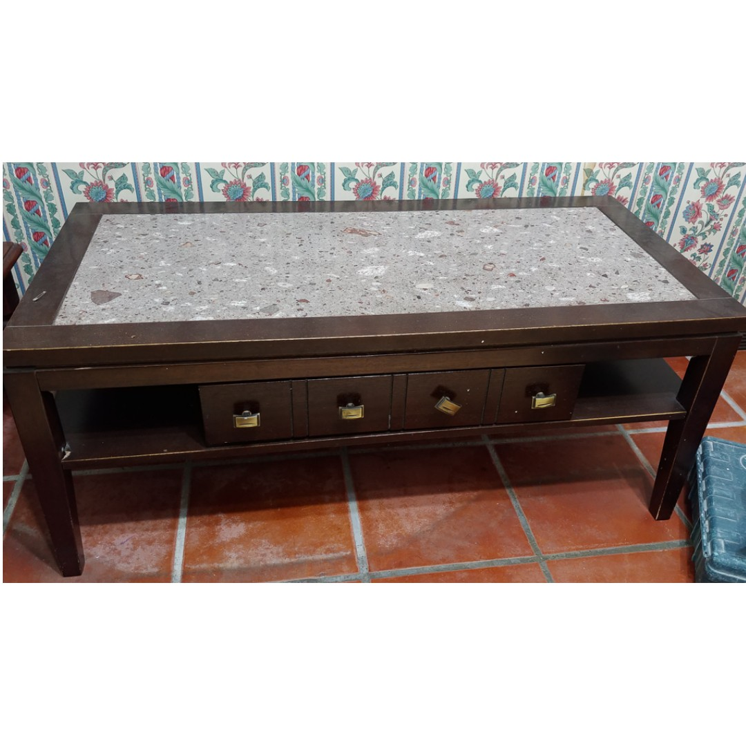 stone granite top coffee table 110wx54dx46h