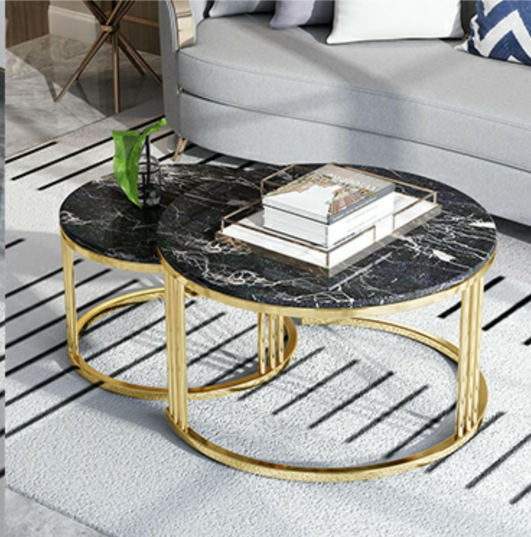 Coffee Table Nesting Table Black Marble And Gold Furniture Tables Chairs On Carousell