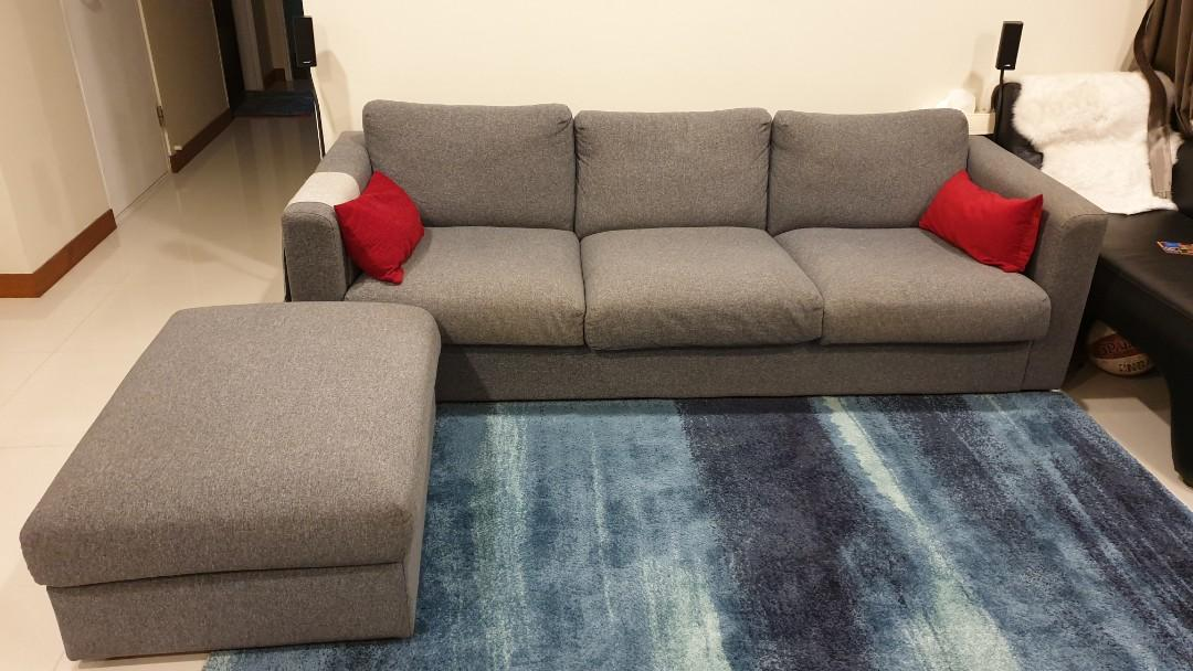 ikea 3 seater sofa chaise vimle