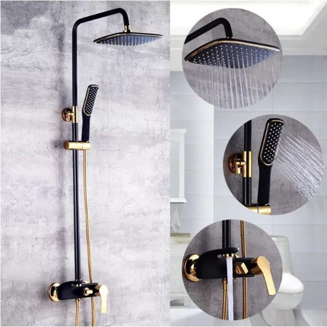 Luxury Europe Style Black Gold Color Copper Shower Set Cold