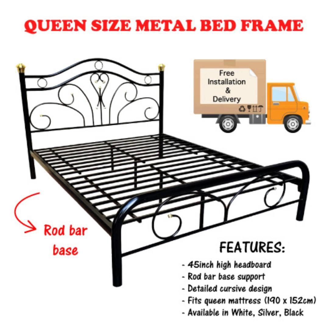 Queen Metal Bed Frame High Headboard Center Legs 3 Colours Furniture Beds Mattresses On Carousell