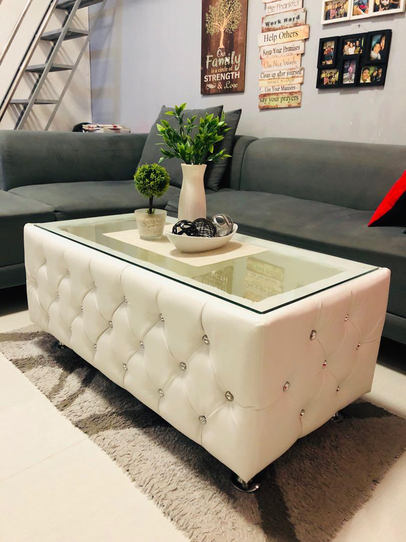 tufted center table white leather