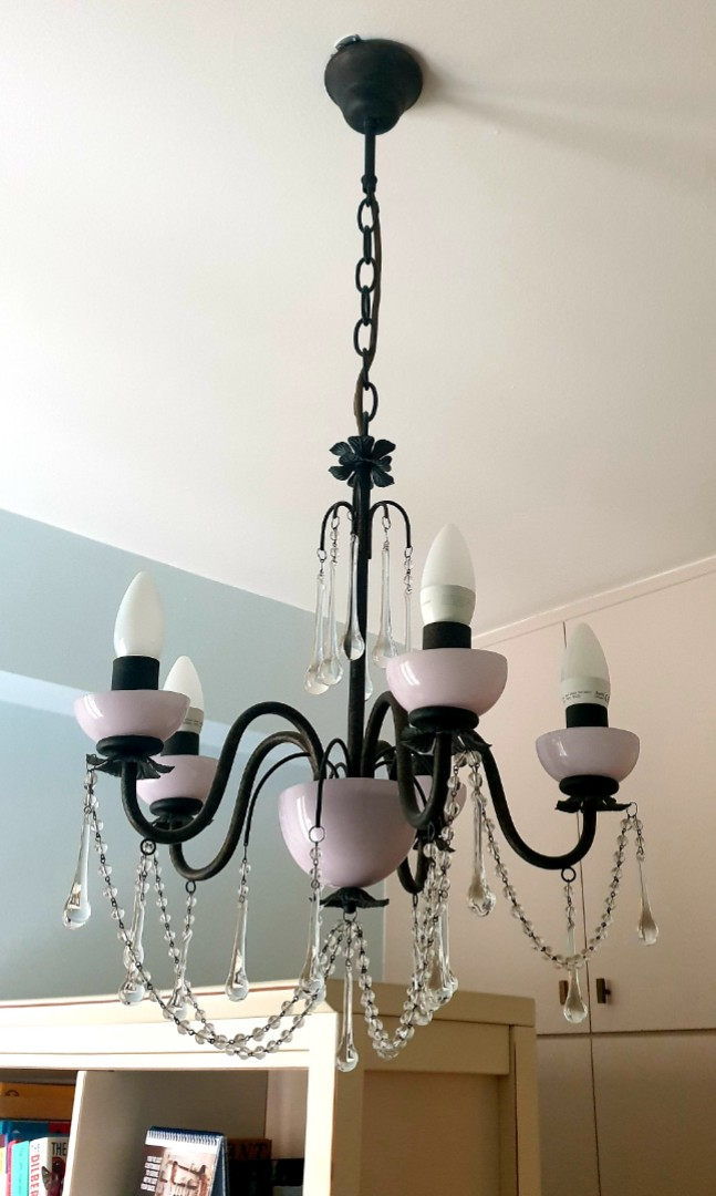 laura ashley pink milk glass aimee 5 lights chandeliers