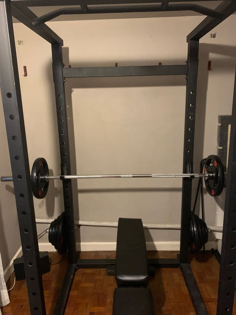 power rack with pull up bar olympic barbell and plate set