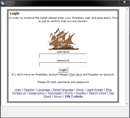 The Pirate Matryoshka malware displays phishing windows to steal logins and passwords to Pirate Bay accounts