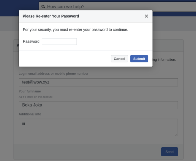 Finally, the password entry form