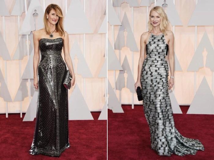 Grå klänningar på Oscarsgalans röda matta.