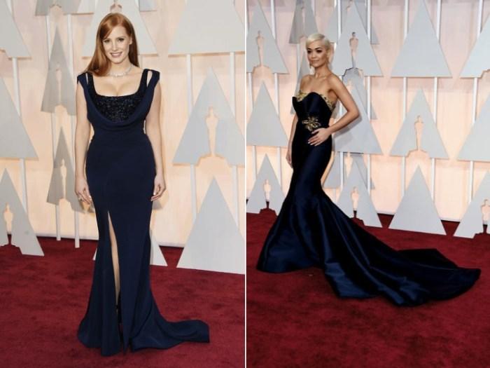 Mörkblå klänningar på Oscarsgalans röda matta.
