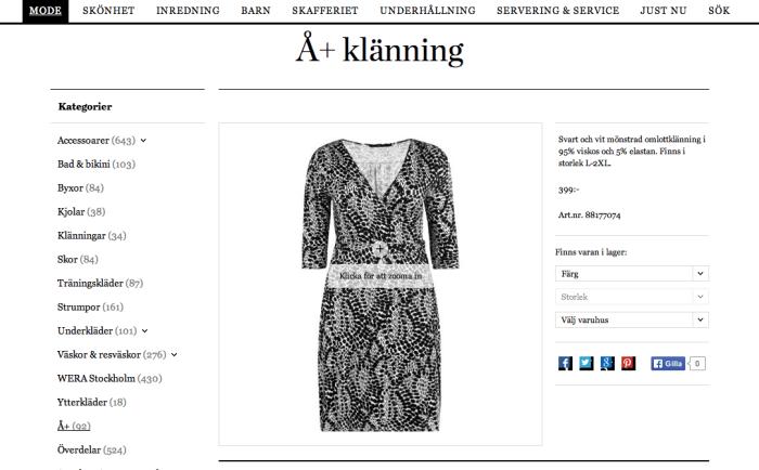 En skärmbild på Åhléns Å+ klänning som Angelica tipsar om.