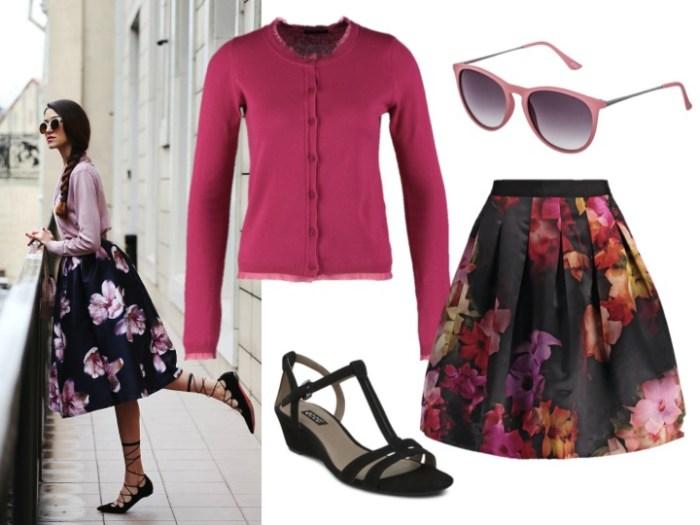 Stilinspiration i form av en härligt blommig kjol, mjuk kofta, sandaler och solglasögon. Perfekt för sommarens kommande fester!