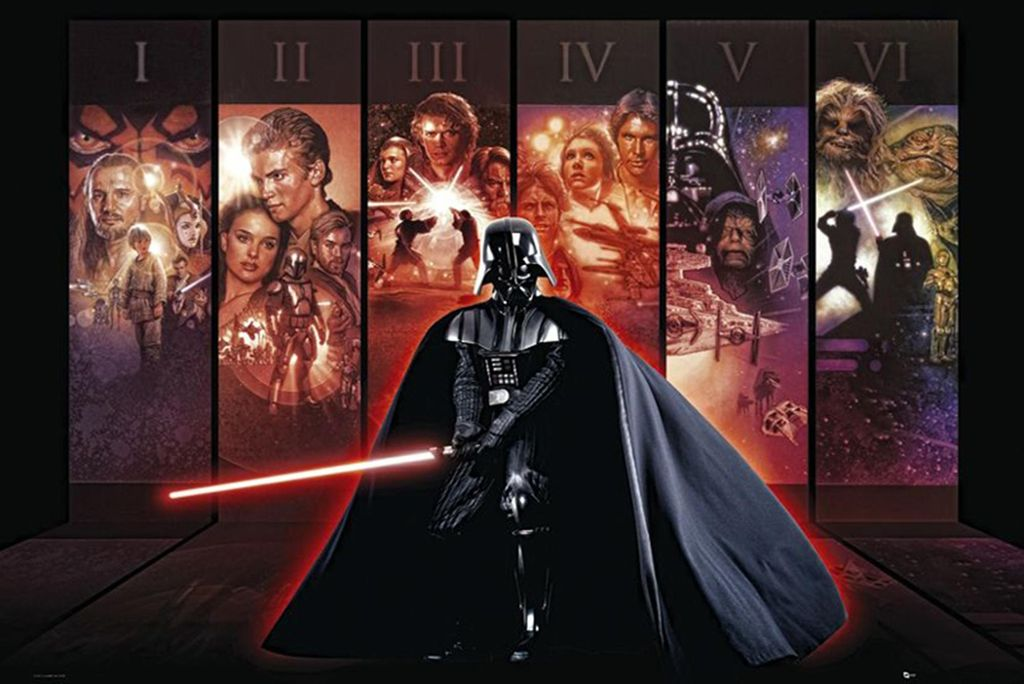 star wars poster hexalogie darth vader 61 x 91 5 cm
