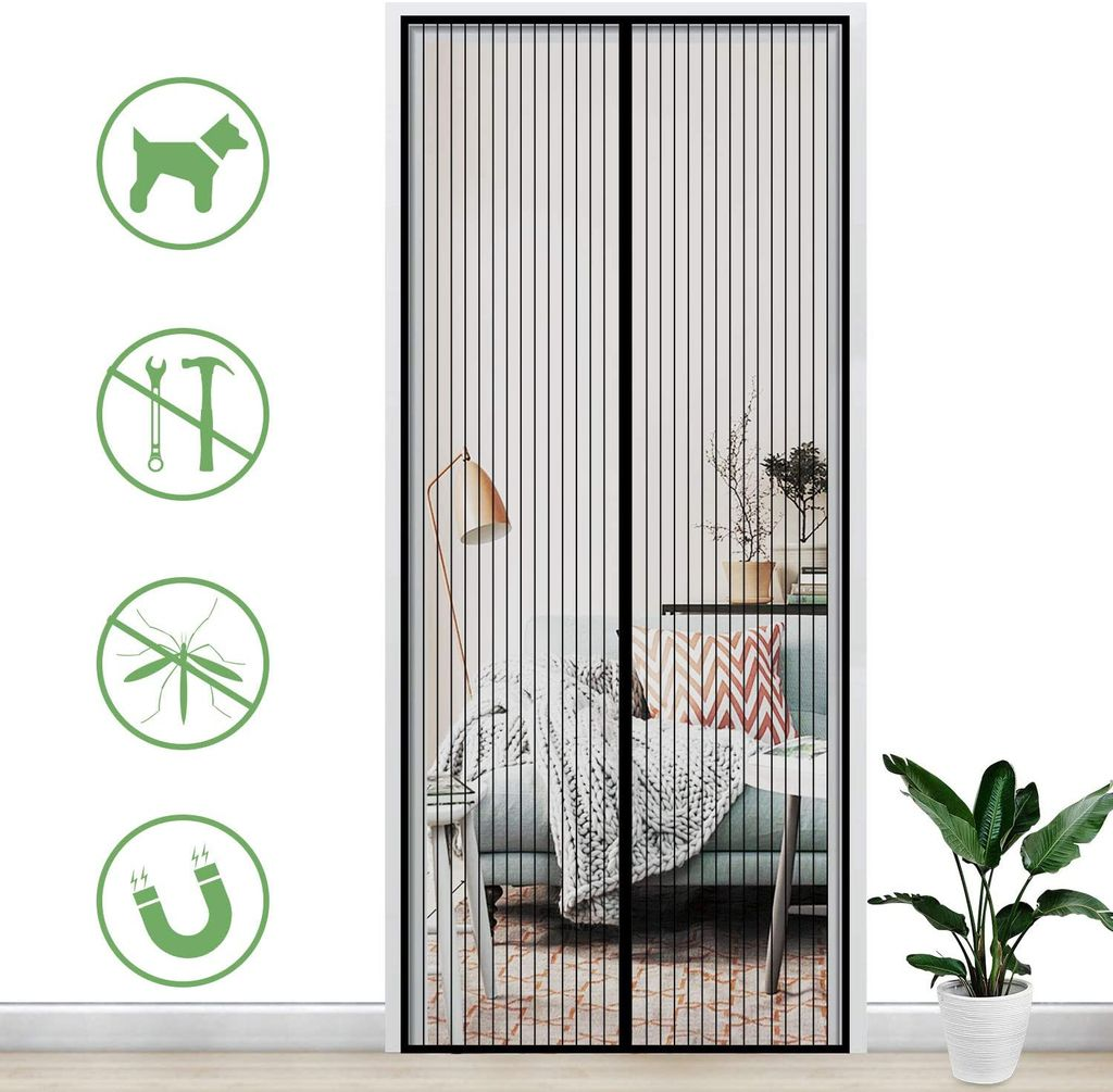 fly screen door insect screen 90 x 210 cm magnetic curtain fly curtain mosquito net for balcony door living room patio door adhesive mounting no