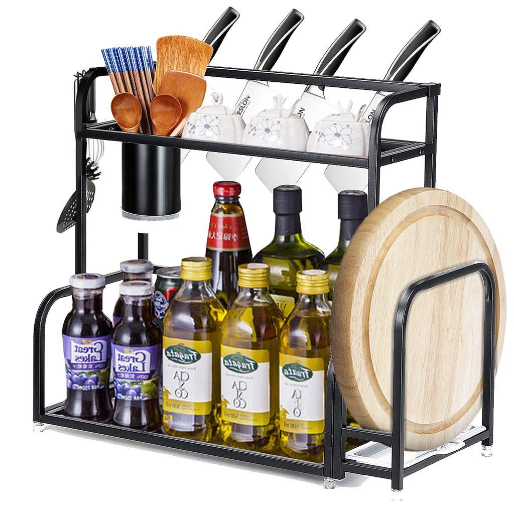 40cm 2 tier kitchen countertop spice rack organizer schrank regale halter schwarz de