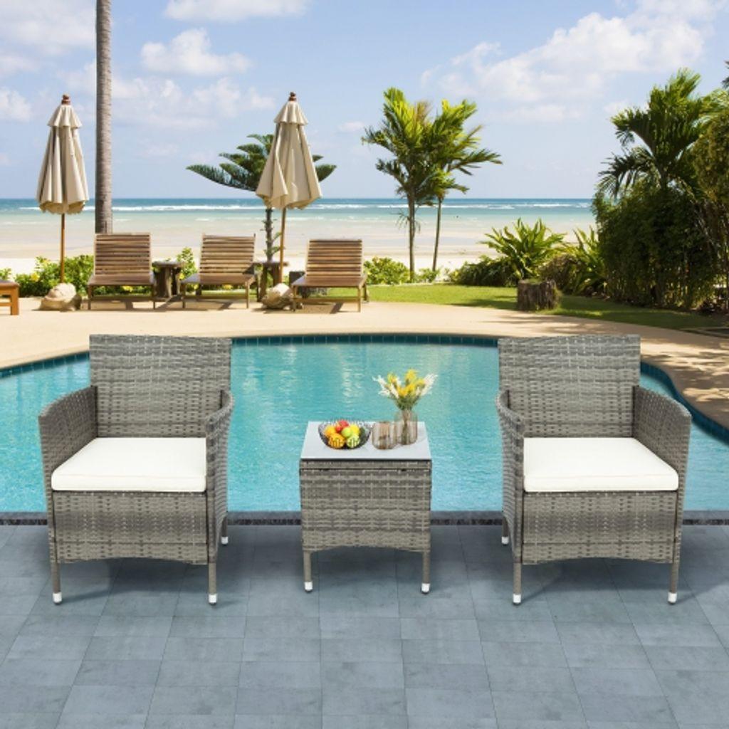 3 teiliges patio set korbmobel sets fur den aussenbereich modernes bistro set rattan stuhl gesprachs sets mit couchtisch fur hof und bistro grau