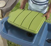 step2 all around speelpatio spielhaus kunststoff patio fur kinder mit kuche zubehor inklusive sand und wasserspieltisch