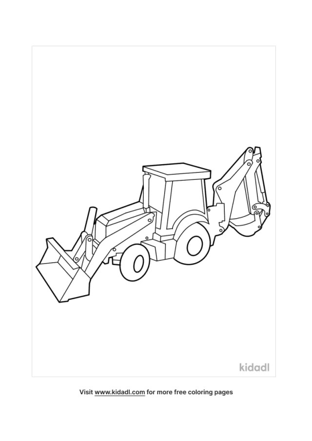 Backhoe Coloring Pages  Free Vehicles Coloring Pages  Kidadl