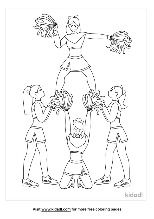Cheerleading Team Coloring Pages  Free Sports Coloring Pages  Kidadl