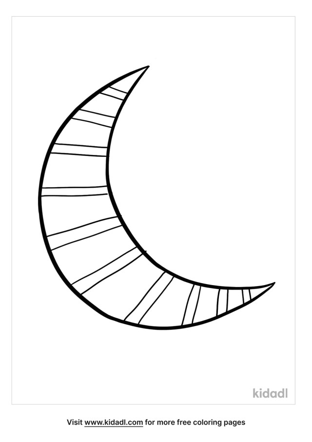 Crescent Moon Stripes Coloring Pages  Free Space Coloring Pages