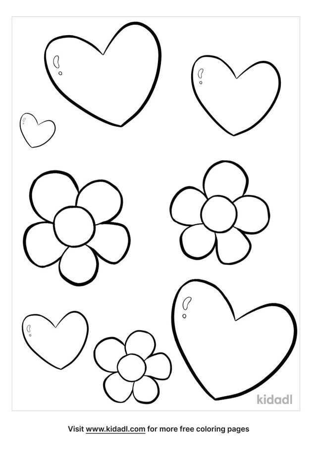 Hearts And Flowers Coloring Pages  Free Emojis, Shapes & Signs