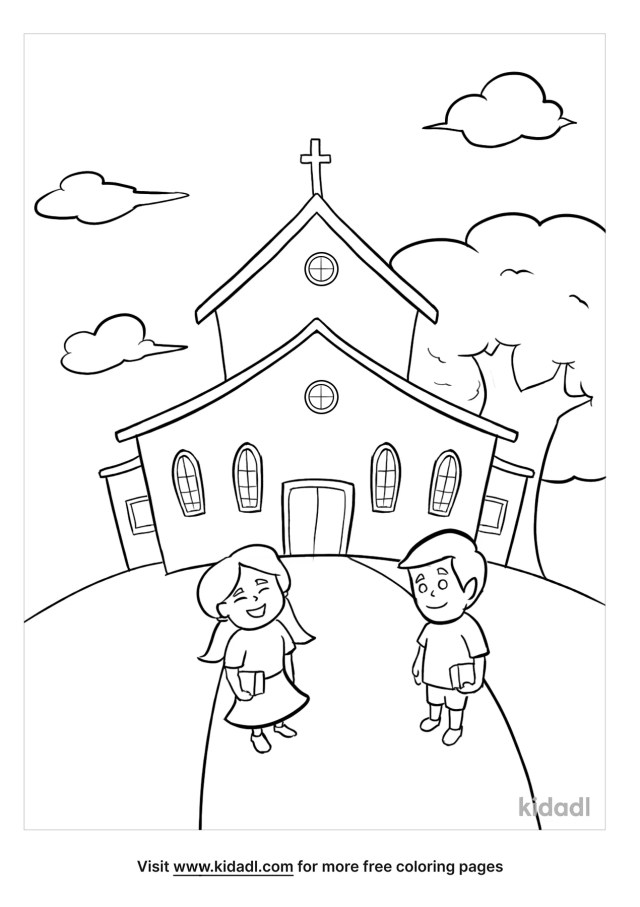 Welcome To Sunday School Coloring Pages  Free Buildings Coloring