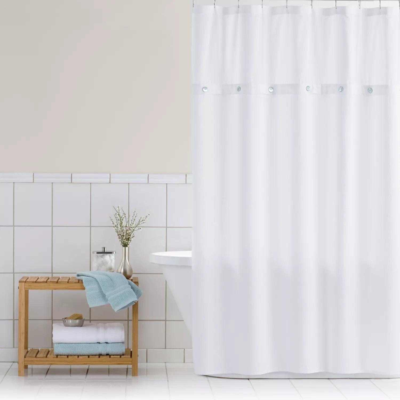 home classics waffle retreat fabric shower curtain