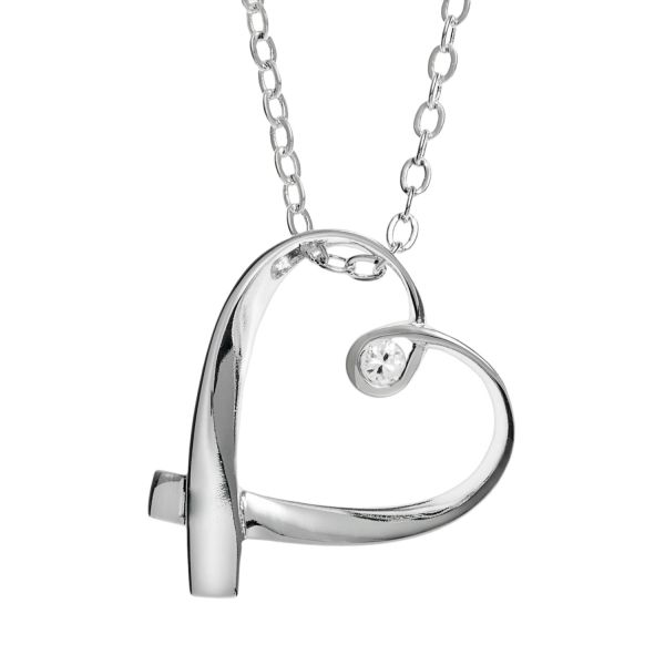 Silver Expressions by LArocks Cubic Zirconia Silver Plated  Mother     Silver Expressions by LArocks Cubic Zirconia Silver Plated  Mother  Ribbon  Heart Pendant Necklace