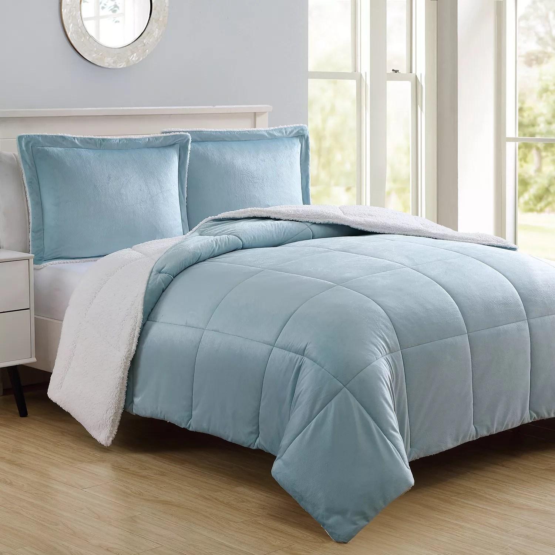 VCNY Micromink Amp Sherpa Reversible Comforter Set