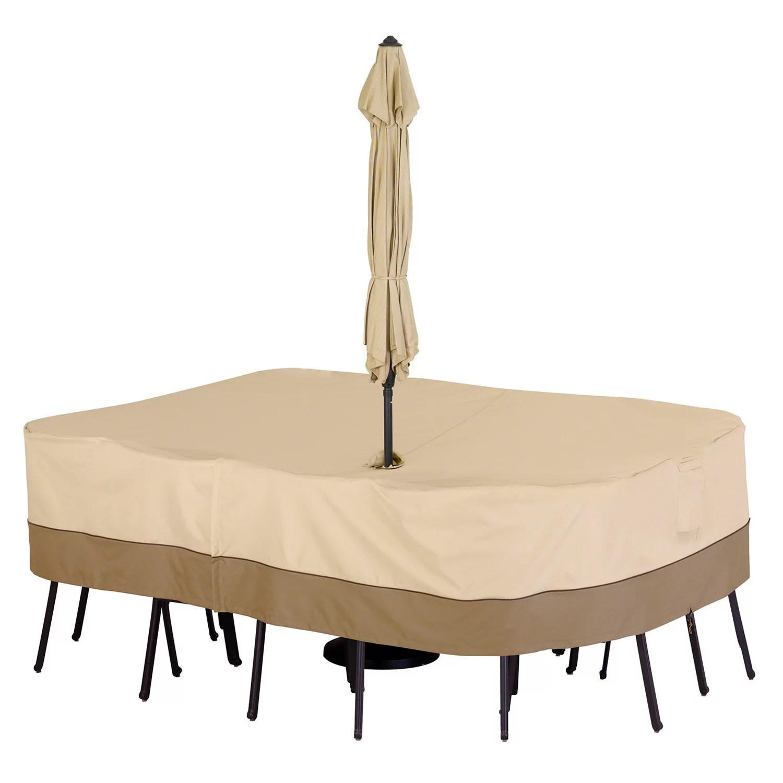 classic accessories veranda large rectangle patio table cover umbrella hole