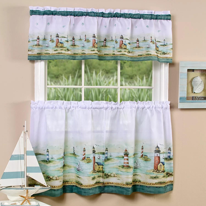 hampton lighthouse 3 piece tier valance kitchen window curtain set