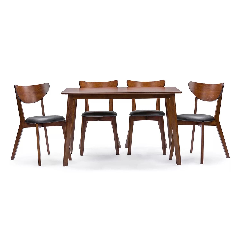 baxton studio sumner dining table chair 5 piece set