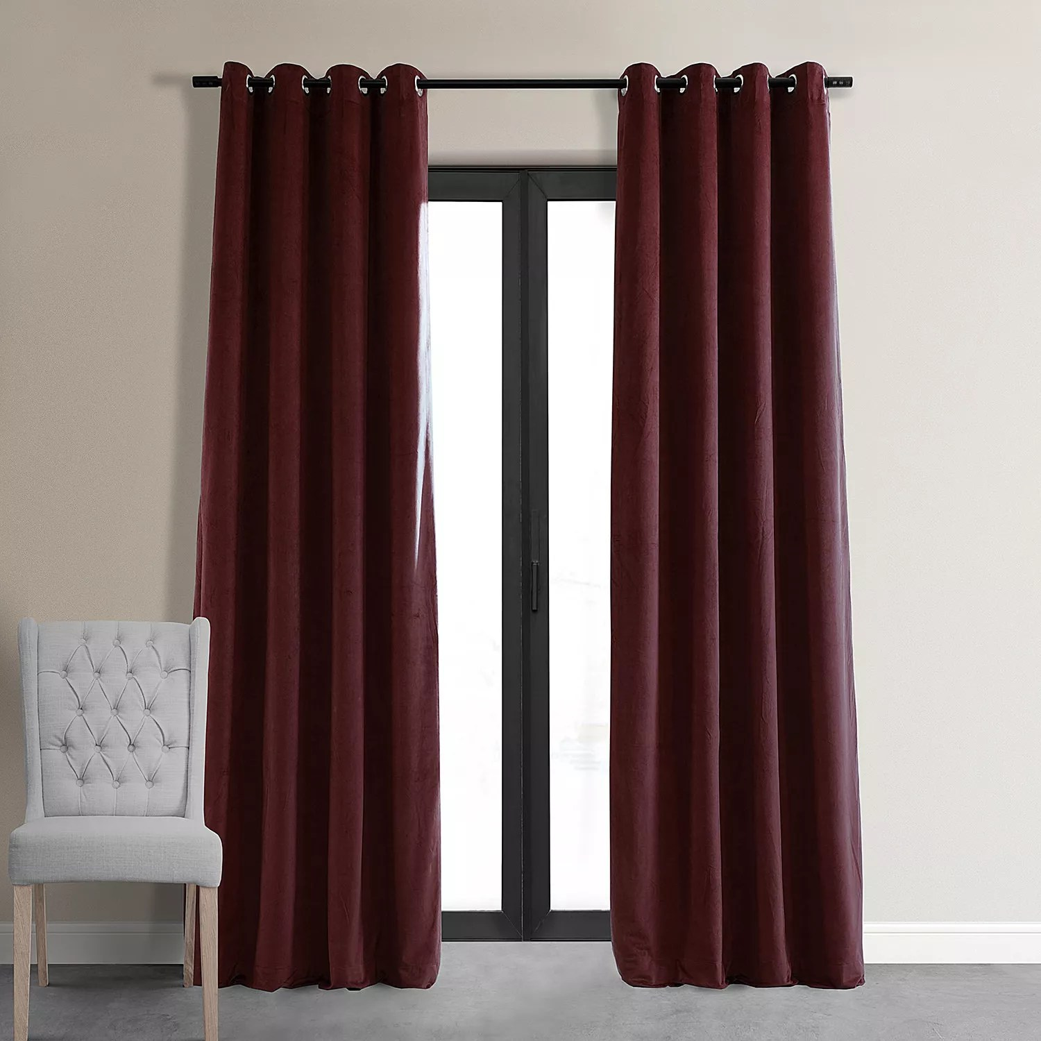 red grommet curtains drapes window