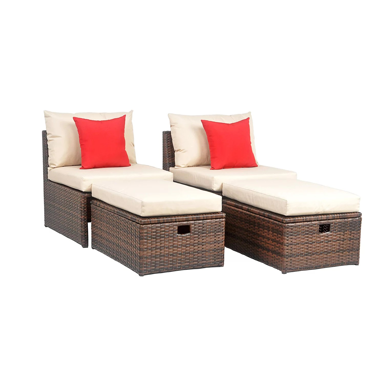 safavieh telford indoor outdoor chair storage ottoman pillow 6 piece set
