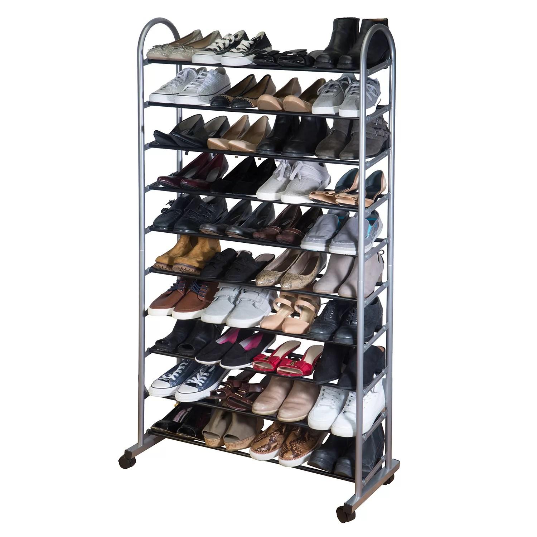 simplify 10 tier mobile rolling shoe rack