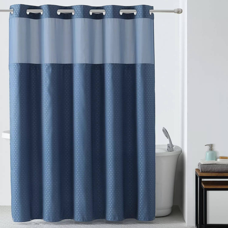 starlight basketweave 2 piece fabric shower curtain liner set