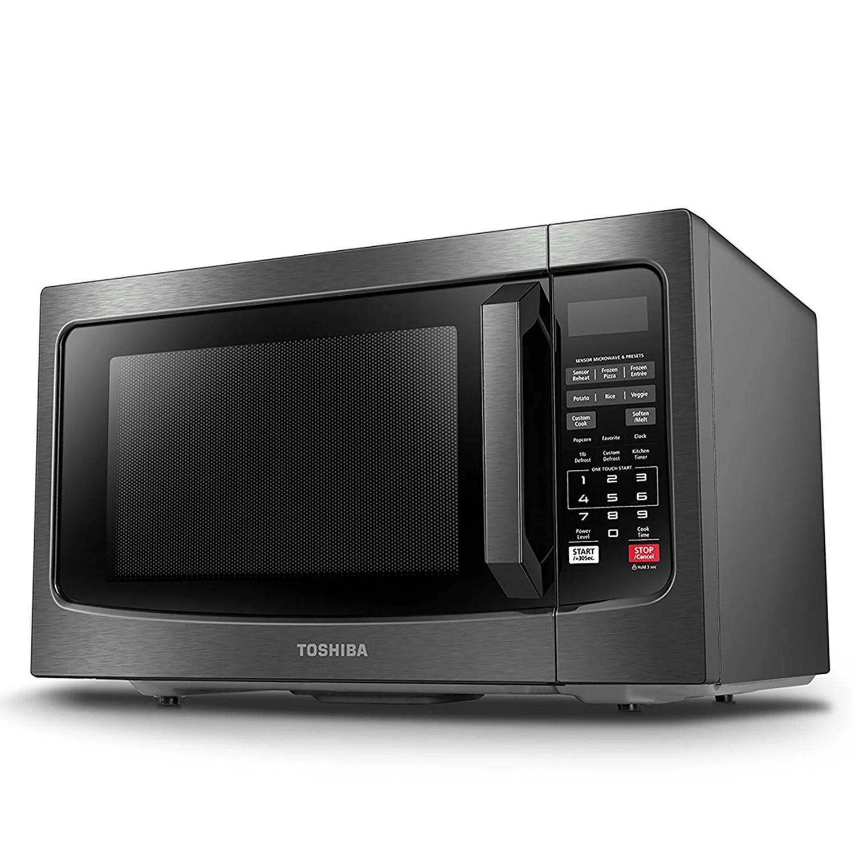 toshiba 1100 watt black stainless steel microwave with smart sensor