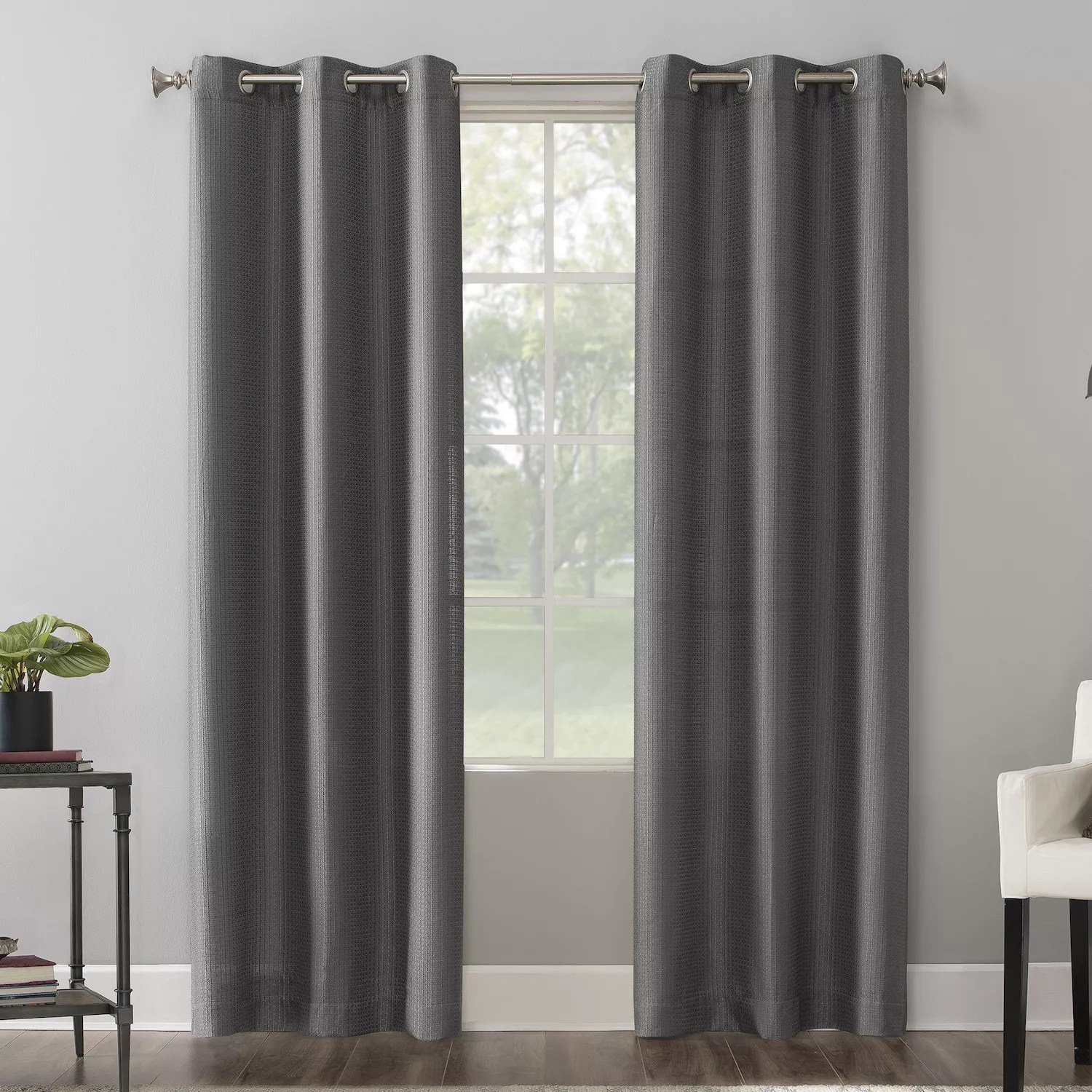 the big one 2 pack raiden solid grommet decorative window curtain set