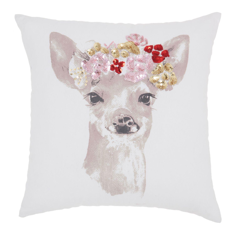 age floral fawn white throw pillow