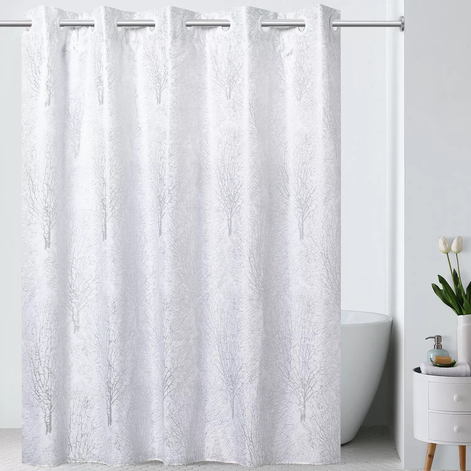 hookless premium shower curtain silver branch print with fabric liner