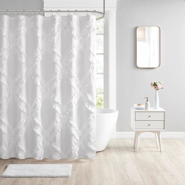 intelligent design karlie tufted diamond ruffle shower curtain