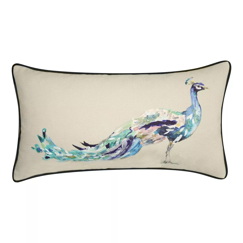 edie home reversible ribbon peacock decorative lumbar pillow