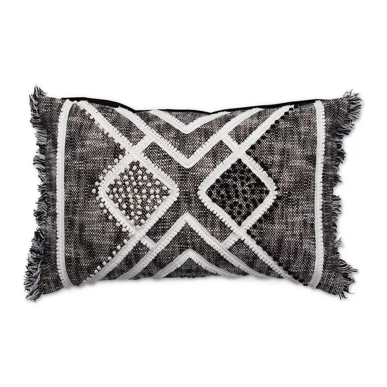 tempo home nisha textured black oblong throw pillow