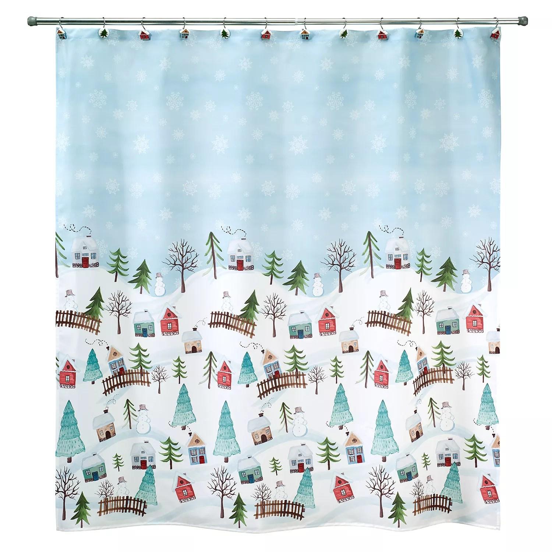 avanti christmas village shower curtain