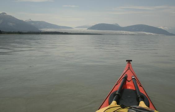 Jason Amundson paddled a kayak up Taku Inlet to the Taku Glacier in June 2019. (Photo courtesy of Jason Amundson)