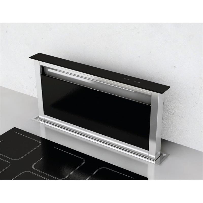 Tischabzug LIFT 90 cm Edelstahl Schwarzglas Umluft Touch Control Timer Tischhaube Arbeitsplatte