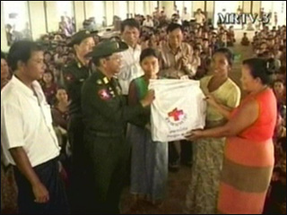 Myanmar junta hands out aid boxes with generals' names